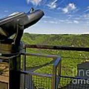 Telescope With View On Meander Of Queuille. Auvergne. France. Europe Art Print