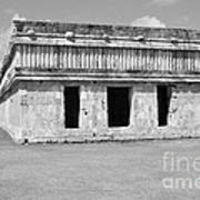 Temple Of The Turtles At Uxmal Mexico Black And White Art Print