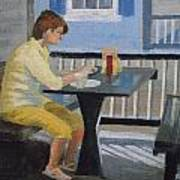 Texting At Breakfast Print by Robert Rohrich