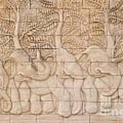 Thai Style Handcraft Of Elephant Art Print by Phalakon Jaisangat