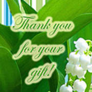 Thank You For The Gift Greeting Card - Lily Of The Valley Art Print