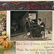 Thanksgiving Card, 1909 Art Print