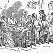 Thanksgiving Dinner, 1850 Art Print