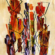 Figurative Abstract African Couple Reproduction On Gallery Wrapped Canvas  Art Print by Marie Christine Belkadi