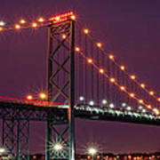 The Ambassador Bridge At Night - Usa To Canada Art Print by Gordon Dean II