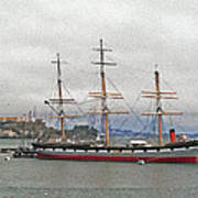 The Balclutha Ship And Alcatraz Island Art Print