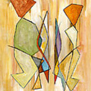 Modern Art Beige Orange Green Abstract Color Blocks Barcelonian Couple Art Print by Marie Christine Belkadi