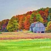 The Barn In Autumn Art Print by Michael Garyet