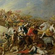 The Battle Between The Amazons And The Greeks Art Print
