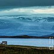 The Bench And The Glacier Art Print