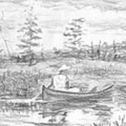 The Blue Canoe Art Print