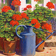 The Blue Watering Can Print by Anthony Rule
