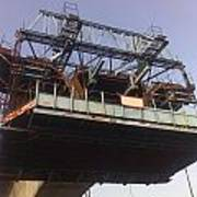 The Bridge Building Platform Being Used In The Construction Of The Delhi Metro Art Print