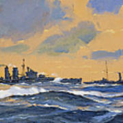 The British Cruisers Hms Exeter And Hms York  Art Print