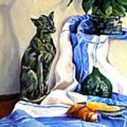 The Cat And The Cloth Art Print