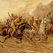 The Charge Of The Bengal Lancers At Neuve Chapelle Art Print
