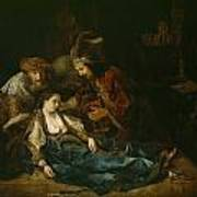 The Death Of Lucretia - Mid 1640s  Art Print by Harmensz van Rijn Rembrandt