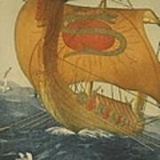 The Dragon Ship. Viking Ship At Sea Art Print by Everett