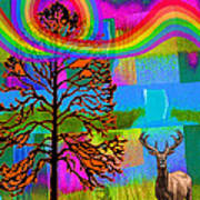 The Earth Rejoices Series Deer And Basswood Art Print