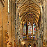 The Enormous Interior Of St. Vitus Cathedral Prague Art Print by Christine Till