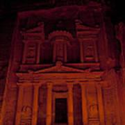 The Famous Treasury Lit Up At Night Art Print