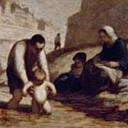 The First Bath  Art Print by Honore Daumier
