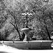 The Fountain In Black And White Art Print