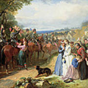 The Girls We Left Behind Us - The Departure Of The 11th Hussars For India Art Print by Thomas Jones Barker