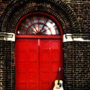 The Guitar And The Red Door Art Print