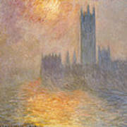 The Houses Of Parliament At Sunset Art Print by Claude Monet