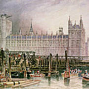 The Houses Of Parliament In Course Of Erection Art Print