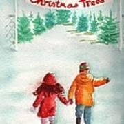 The Joy Of Selecting A Christmas Tree Art Print by Sharon Mick