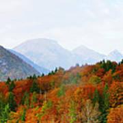 The Julian Alps In Autumn At Lake Bohinj Art Print