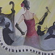 The Lady And Jazz Art Print by Janna Columbus