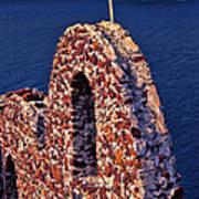The Last Wall Standing Santorini Greece Art Print