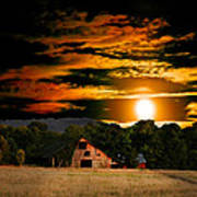 The Late Sam's Rd. Barn In The Moonlight Art Print