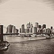 The New York City Skyline And The Brooklyn Bridge Art Print by Vivienne Gucwa