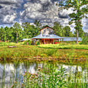 The Old Barn By The Pond Art Print