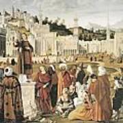 The Preaching Of Saint Stephen In Jerusalem Print by Vittore Carpaccio