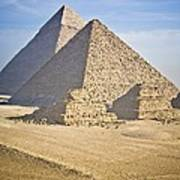 The Pyramids With Two Men On Camels Art Print