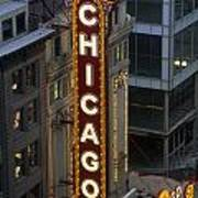 The Sign Outside The Chicago Theater Art Print by Paul Damien