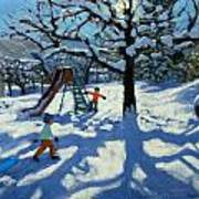 The Slide In Winter Art Print by Andrew Macara