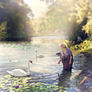 The Swan And The Fairy  Art Print