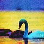 The Swan Family Art Print by Odon Czintos