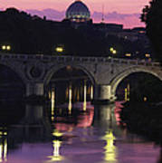 The Tiber River And The Dome Of St Art Print