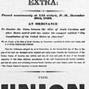 The Union Is Dissolved, 1860 Broadside Art Print
