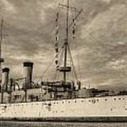 The Uss Olympia Black And White Art Print by JC Findley