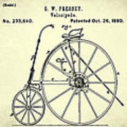 The Velocipede Patent 1880 Art Print
