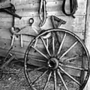 The Wagon Wheel Bw Art Print