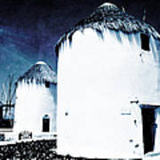 The Windmills Of Mykonos - Textured Blue Art Print
